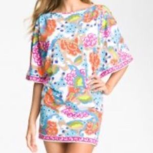 Trina Turk Cherry Blossoms Cold Shoulder Cover Up